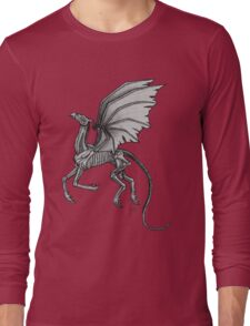 Thestral #2 with Gray Background Long Sleeve T-Shirt