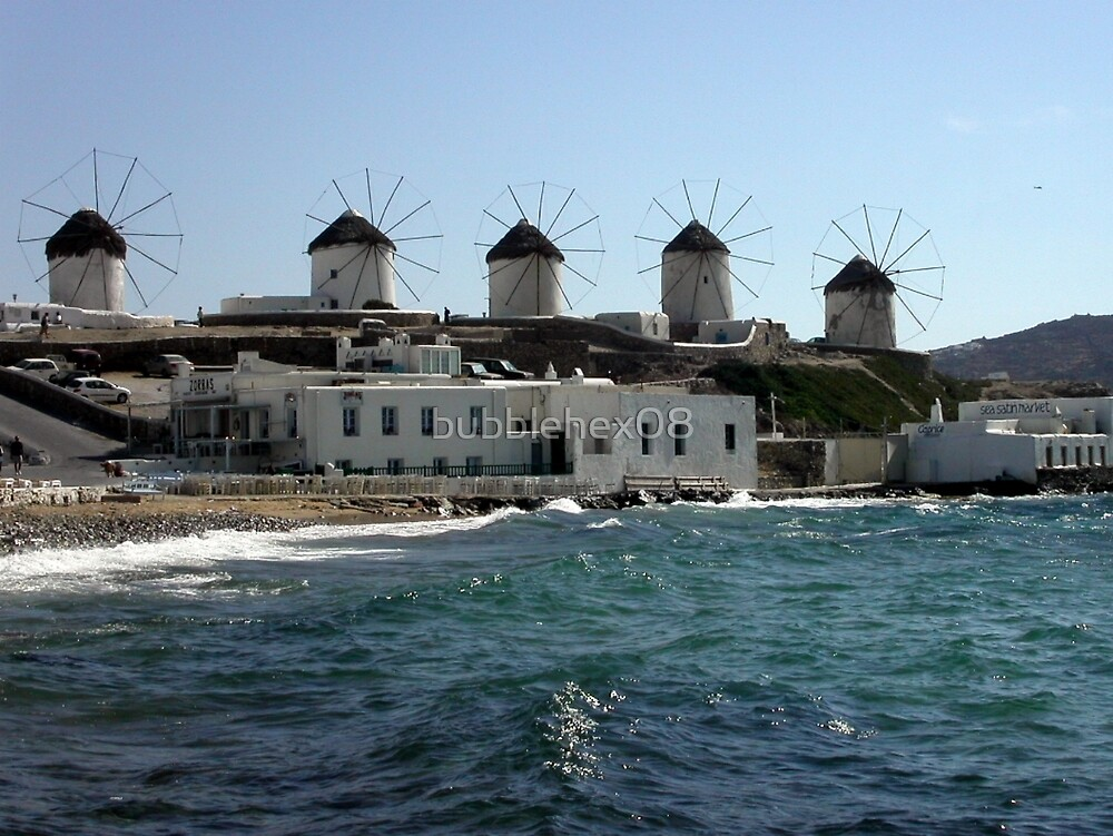 Mykonos: the windmills by bubblehex08