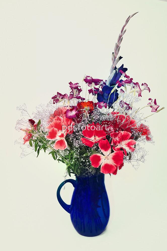flowers in blue vase by pdsfotoart