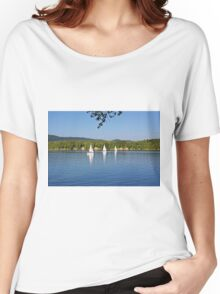 Three white sailing boat on Solina Lake Women's Relaxed Fit T-Shirt