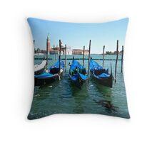 Blue Gondole - Venice, Italy Throw Pillow
