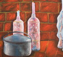 Candles and Pot in Red by MIchelle Thompson