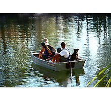 Dog in a boat Photographic Print