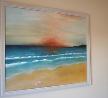 A beach somewhere with seaguls by Veronica Cunningham