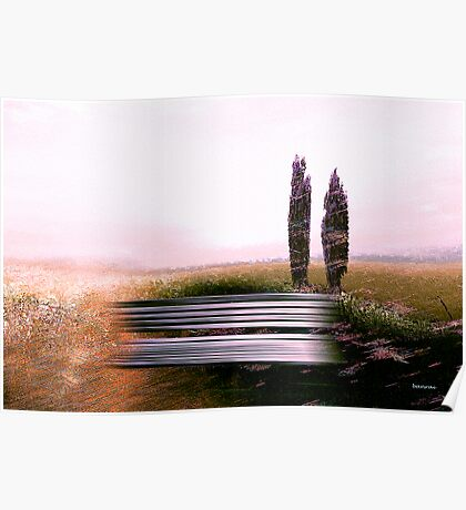 rural view.... countryside bench Poster