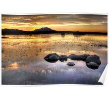 Sunset Lake With Rocks Poster