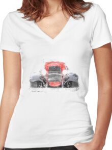 1932 Ford Roadster Red and Black Convertible Women's Fitted V-Neck T-Shirt