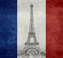 Vintage national flag of France with Eiffel Tower insert by Bruiserstang
