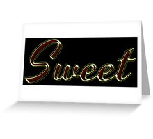 Sweet - Faux Red Colored Turquoise Text Effect - Gold Outline Greeting Card
