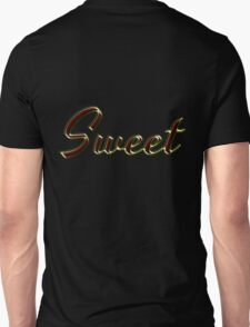 Sweet - Faux Red Colored Turquoise Text Effect - Gold Outline Unisex T-Shirt