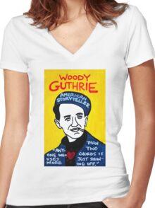 Woody Guthrie Folk Art Women's Fitted V-Neck T-Shirt