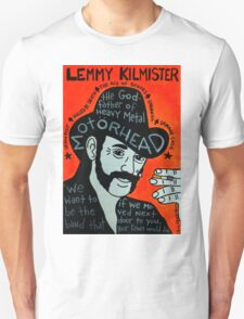 Lemmy Kilmister Motorhead Heavy Metal Folk Art T-Shirt