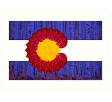 aspen tree Colorado flag Art Print