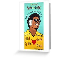 Stevie Wonder Pop Folk  Art Greeting Card