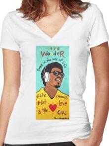 Stevie Wonder Pop Folk  Art Women's Fitted V-Neck T-Shirt