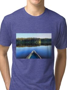 Canoeing on Lonely Lake Tri-blend T-Shirt