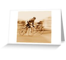Two Cyclists Battling for the Lead - Sepia Tones Greeting Card