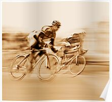 Two Cyclists Battling for the Lead - Sepia Tones Poster