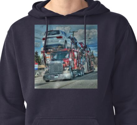 Red Big Rig Car Transporter  Pullover Hoodie