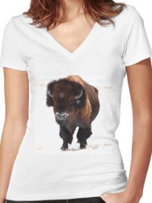 """Monarch of the Plains"" Women's Fitted V-Neck T-Shirt"