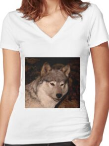 Gray Wolf Women's Fitted V-Neck T-Shirt