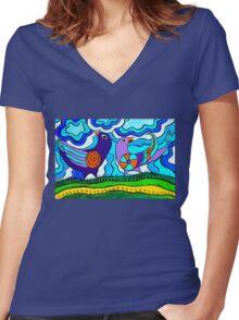 Retro Birds Women's Fitted V-Neck T-Shirt