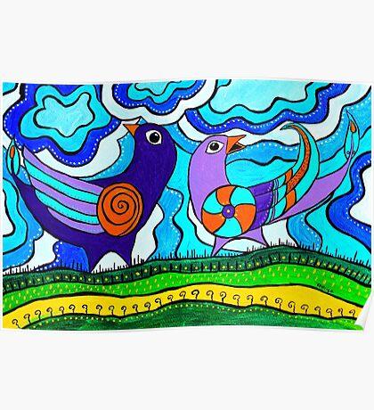 Retro Birds Poster