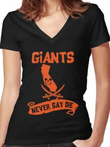 San Francisco Giants Never Say Die Women's Fitted V-Neck T-Shirt
