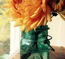 Dahlia in Canning Jar by Barbara Wyeth