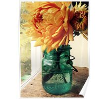 Dahlia in Canning Jar Poster