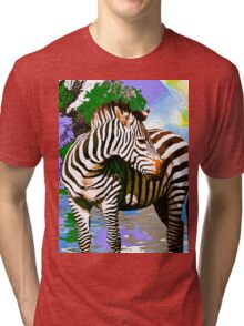 Zebra:  Earth A Home For All Tri-blend T-Shirt