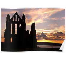 Sunset over Whitby Abbey, Whitby, N. Yorkshire Poster