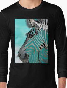 Zebra Abstract BLUE AQUA Long Sleeve T-Shirt