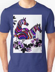 Zebra Rainbow At Play Unisex T-Shirt
