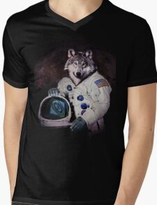Wolfy Goes to Mars Mens V-Neck T-Shirt