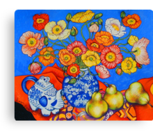 Poppies & Pears Canvas Print