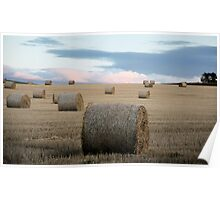 Big Round Bales in a Stubble Field Poster