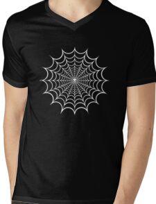 Spider Web White Mens V-Neck T-Shirt
