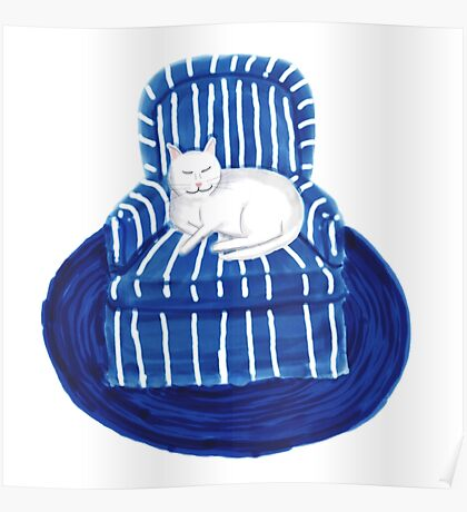 White Cat in a Striped Blue Chair Poster