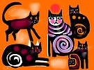five cats playing  by Karin Zeller
