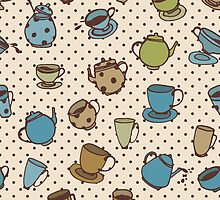 Seamless pattern with tea pots and tea cups. Cute kitchen pattern by o-ta