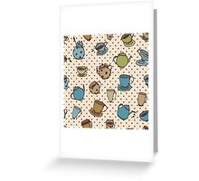 Seamless pattern with tea pots and tea cups. Cute kitchen pattern Greeting Card