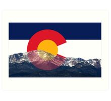 Pikes Peak Colorado Flag Art Print