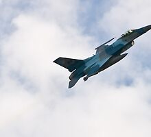 An F-16 Fighting Falcon Aggressor Leaving Fast by Henry Plumley