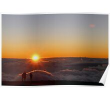 Sunset on the top of Haleakala volcano Poster