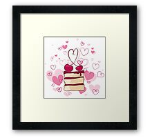 piece of cake with cherries Framed Print