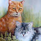 Two Cats by Fiona  Lee