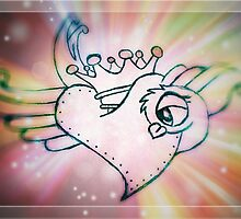 Rainbow Starburst Heart Dove by leighannart
