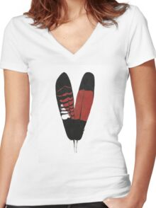 Red-Tailed Black Cockatoo Feathers Women's Fitted V-Neck T-Shirt