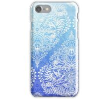 Out of the Blue - White Lace Doodle in Ombre Aqua and Cobalt iPhone Case/Skin